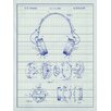 Inked and Screened Headphones Blueprint Graphic Art