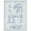 Inked and Screened Star Wars AT-AT Blueprint Graphic Art