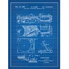 Inked and Screened Music and Audio 'Portable Lightweight Record Player' Silk Screen Print Graphic Art in Blue Grid/White Ink