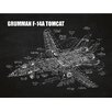 Inked and Screened Aviation Cutaways 'Grumman F 14A Tomcat' Silk Screen Print Graphic Art in Chalkboard/White Ink