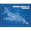 Inked and Screened Aviation Cutaways 'McDonnell Douglas F 4E Phantom II' Silk Screen Print Graphic Art in Blue Grid/White Ink