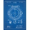 Inked and Screened Outdoor Gear 'Pocket Compass' Silk Screen Print Graphic Art in Blue Grid/White Ink