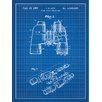 Inked and Screened Outdoor Gear 'Binoculars' Silk Screen Print Graphic Art in Blue Grid/White Ink