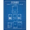 Inked and Screened Gaming 'Magic: The Gathering' Silk Screen Print Graphic Art in Blue Grid/White Ink