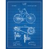 Inked and Screened Vintage Inventions 'Bicycle 1890' Silk Screen Print Graphic Art in Blue Grid/White Ink