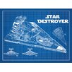 Inked and Screened Sci-Fi and Fantasy 'Star Wars Vehicles: Star Destroyer' Silk Screen Print Graphic Art in Blue Grid/White Ink