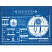 Inked and Screened Sci-Fi and Fantasy 'Star Wars Death Star Infographic' Silk Screen Print Graphic Art in Blue Grid/White Ink