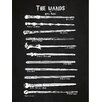 Inked and Screened Sci-Fi and Fantasy 'Harry Potter Wands' Silk Screen Print Graphic Art in Chalkboard/White Ink