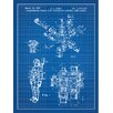 Inked and Screened Tech and Gadgets 'Under Water Space Suit Pressure Control Regulator' Silk Screen Print Graphic Art in Blue Grid/White Ink