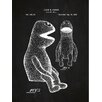 Inked and Screened Vintage Inventions 'Henson Puppet' Silk Screen Print Graphic Art in Chalkboard/White Ink