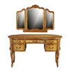 Hazelwood Home Henry French Kidney Dressing Table with Mirror