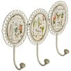 Hazelwood Home Flowers Triple Wall Hook