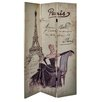 Hazelwood Home 180cm x 120cm Paris Linen Double Sided Screen 3 Panel Room Divider