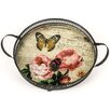 Hazelwood Home Butterflies and Roses Round Handled Metal Tray