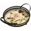 Hazelwood Home Flowers Round Handled Tray
