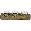 Hazelwood Home Teelichthalter Rafferty aus Holz und Glas