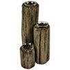 Hazelwood Home Rafferty 3 Piece Wood / Glass Candlestick Set