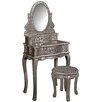 Hazelwood Home Old Fashioned Dressing Table with Mirror
