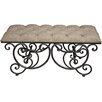 Hazelwood Home Ornate Upholstered Bench