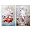 Wildon Home Flamingo 2 Piece Art Print on Canvas Set