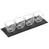 Wildon Home 5 Piece Square Glass Bowls, Slate Tray Set