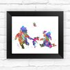 Dignovel Studios Winnie the Pooh with Piglet and Eeyore Contemporary Watercolor Framed Graphic Art