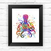 Dignovel Studios Octopus Contemporary Watercolor Framed Graphic Art
