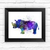Dignovel Studios Rino Watercolor Framed Graphic Art