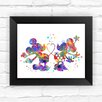 Dignovel Studios Mickey and Minnie Disney Contemporary Watercolor Framed Graphic Art