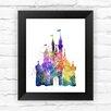 Dignovel Studios Cinderella Disney Princess Castle Watercolor Framed Graphic Art