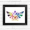 Dignovel Studios Hyrule Crest Legend of Zelda Modern Link Watercolor Framed Graphic Art