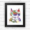 Dignovel Studios Hello Kitty Batman Batgirl Contemporary Watercolor Framed Graphic Art