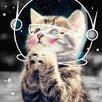 Salty & Sweet Leinwandbild Katze im Weltraum, Grafikdruck