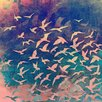 Salty & Sweet Flock of Seagulls Graphic Art on Canvas in Blue