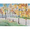 Three Posts Autumn Trees Art Print on Canvas