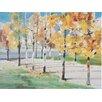 Three Posts Autumn Trees Art Print on Canvas