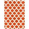 Brady Home Hand Carved Moroccon Trellis Orange/White Area Rug