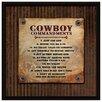 """Dexsa """"Cowboy Commandments..."""" Textual Art Plaque"""
