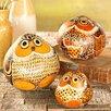 Wind & Weather 3 Piece Handcrafted Gourd Owl Figurine Set