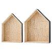 Bloomingville 2 Piece Wood Display House Shelf Set