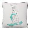 Bloomingville Rabbit on Skateboard Cotton Throw Pillow