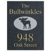 The Stone Mill Slate Hanging Moose Design One Sided Address Plaque