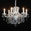 La Maison 6 Light Antique Crackle White Shallow Chandelier