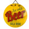 My Amigos Imports Ice Cold Beer Recycled Metal Sign Wall Decor