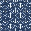 NuWallpaper Set Sail Navy Blue Anchor 5.48m L x 52cm W Roll Wallpaper