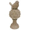 Resin Bird Sitting on Artichoke Finial Statue - Size: 11.5 inch High x 5 inch Wide x 5 inch Deep - Great Finds Garden Statues and Outdoor Accents