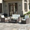 JB Patio Patio Wicker 4 Piece Seating Group with Cushions