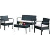 A&J Homes Studio 4 Piece Deep Seating Group with Cushion