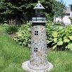 Caulkins Cobblestone Solar LED Lighthouse Statue - Longshore Tides Garden Statues and Outdoor Accents