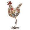ABC Home Collection Floral Iron Rooster Statue